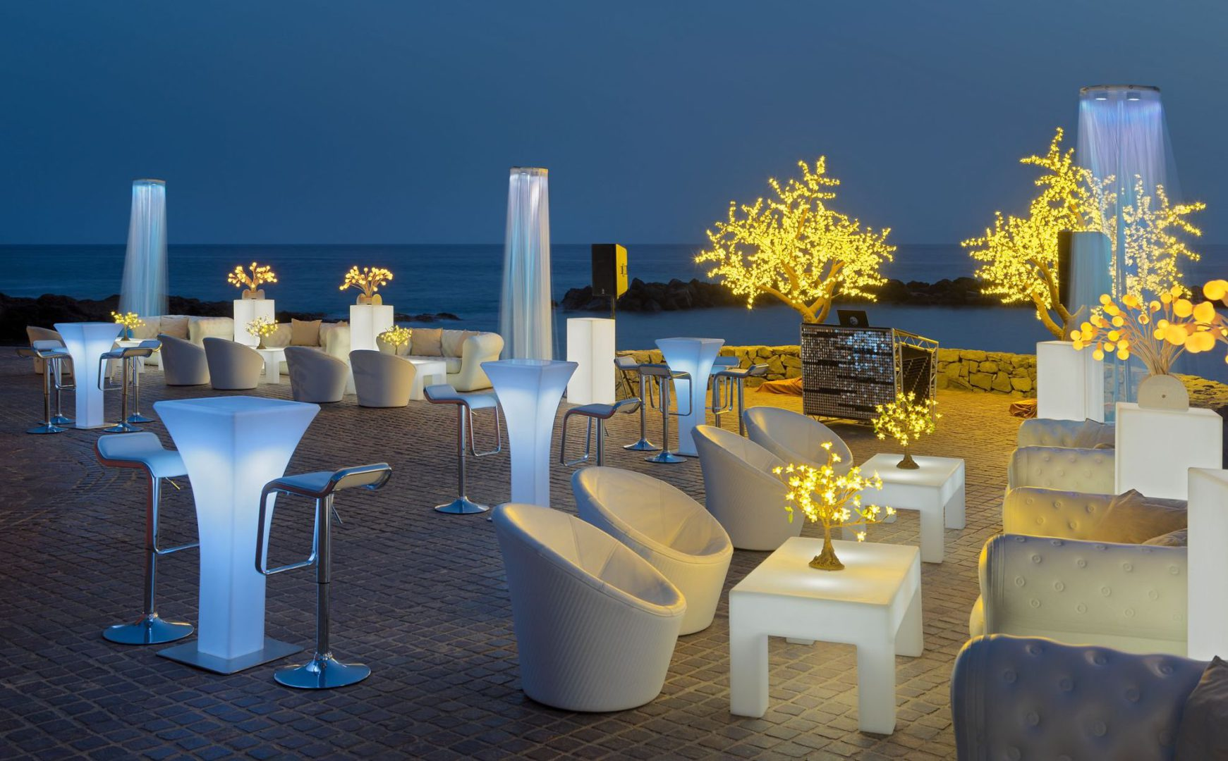 50550823-Beach Club terrace with Chill Out set up at night - natural light