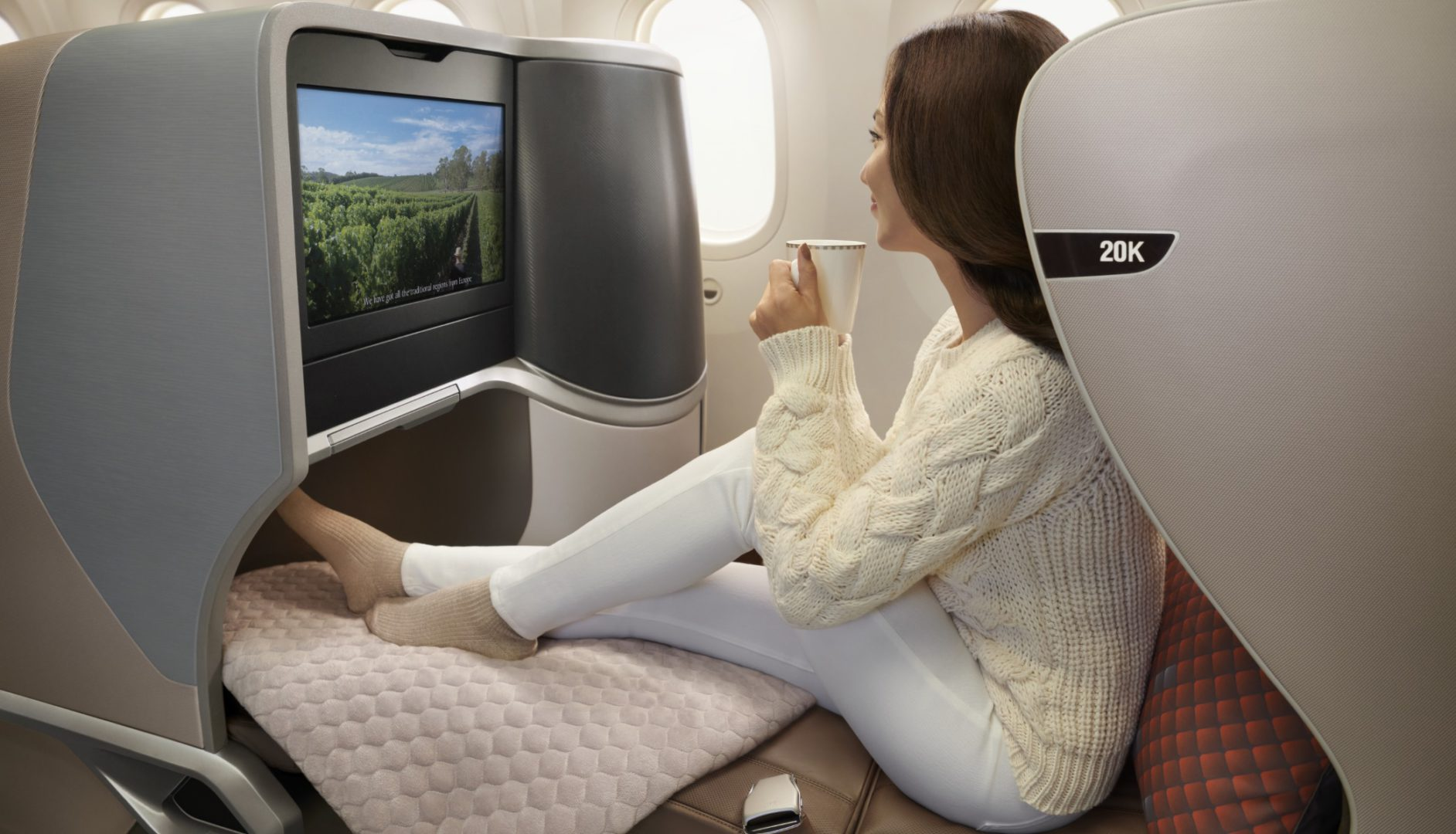 Singapore Airlines Business Class dziewczyna IFE