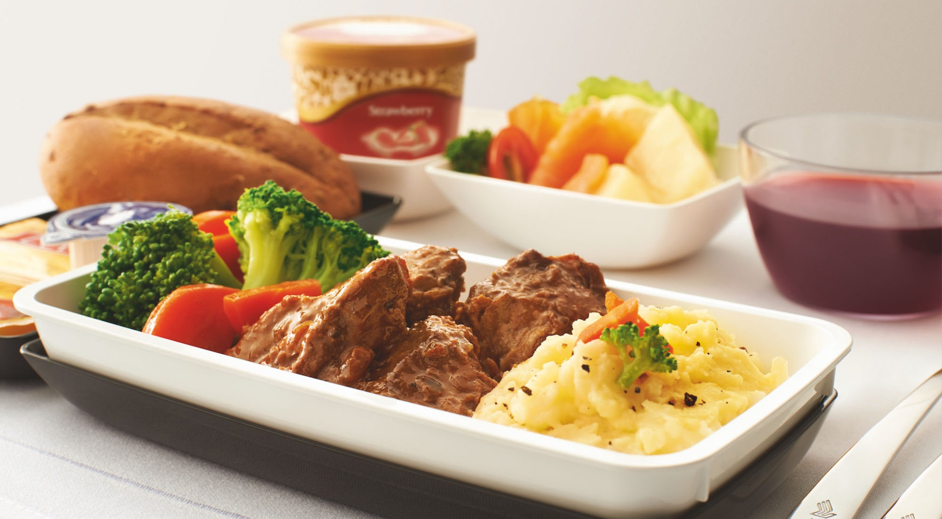 Singapore Airlines Business Class jedzenie
